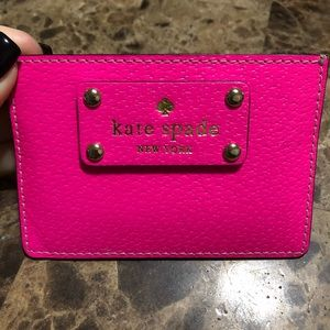 Kate Spade Hot Pink Leather Card Wallet